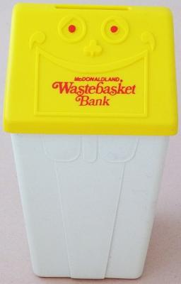 McDonalds 1975 Wastebasket Coin Bank, Yellow & White Plastic, New