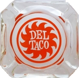 Del Taco Vintage Restaurant Ashtray, Clear Glass w/ Orange Logo