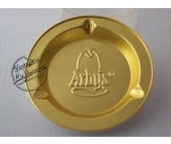 ARBYS Restaurant ASHTRAY Foil Gold tone Round, Unused, Mint Vintage