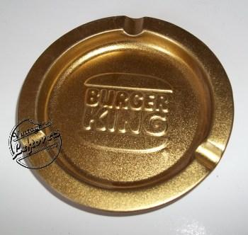 BURGER KING CORP ASHTRAY Metal Gold tone Shiny Textured Round, Unused, Mint Vintage