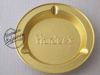 HARDEE'S ASHTRAY Foil Gold tone Round, Unused, Mint Vintage
