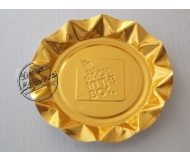 JACK IN THE BOX ASHTRAY Foil Gold tone Fluted Edges Round, Unused, Mint Vintage