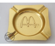 MCDONALDS ASHTRAY Metal Gold tone Square, Unused, Mint Vintage