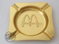 MCDONALDS ASHTRAY Metal Gold tone Square, Unused, Mint Vintage