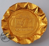 1970s BIG T FAMILY RESTAURANTS ASHTRAY Foil Gold tone Fluted Edges Round, Unused, Very Good Vintage