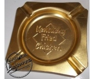 Rare 1970s Ashtray Kentucky Fried Chicken Metal Gold tone Square Used Vintage