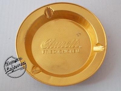 1970s Church's Fried Chicken Restaurant 2 ASHTRAYS Foil Gold tone Round, Unused, very good Vintage