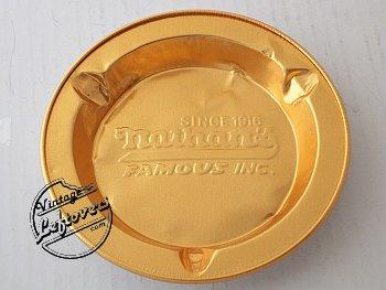 1970s NATHAN'S FAMOUS RESTAURANT 2 ASHTRAYS Foil Gold tone Round, Unused, very good Vintage