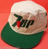 1980s VINTAGE 7UP HAT ADVERTISING HAT CAP WHITE with 7UP LOGO