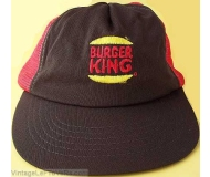 VINTAGE 1980s BURGER KING EMPLOYEE CAP HAT Red Snapback Mesh CREW