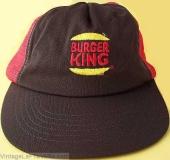 VINTAGE 1980s BURGER KING EMPLOYEE CAP HAT Red Snapback Mesh CREW