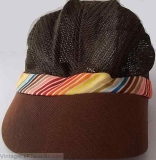 VINTAGE CARLS JR RESTAURANT CAP HAT CREW MESH BROWN COLORFUL STRIPE TRIM