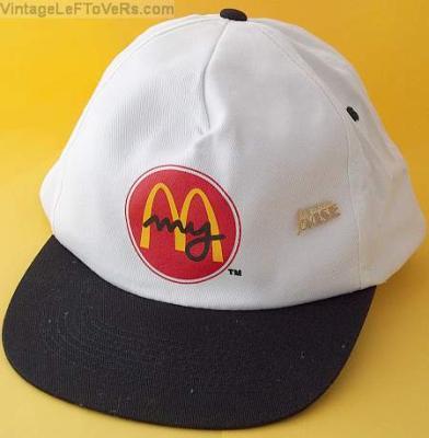 VINTAGE 1980s MCDONALDS CREW CAP White HAT PINBACK Button Black Visor