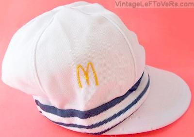 VINTAGE 1976 RARE MCDONALDS CREW CAP HAT WHITE with BLUE STRIPES