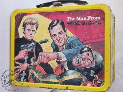 Vintage 1966 MAN FROM U.N.C.L.E. Metal Lunch Box NO Thermos