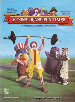 McDonaldland Fun Times Vol 6 No 3 June-July 1984 Olympics Magazine for Children