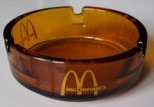 RARE 1970'S McDONALD'S DARK AMBER GLASS ASHTRAY W/ YELLOW LOGO