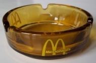 RARE 1970'S McDONALD'S GOLDEN AMBER GLASS ASHTRAY W/ YELLOW LOGO