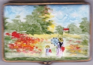 LIMOGES VINTAGE MONET PORCELAIN BOX ON EASEL