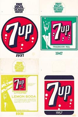 7-UP ADVERTISING DECALS – BOTTLE TOPPERS – HANGERS (5) MID-CENTURY VINTAGE PAPER EPHEMERA