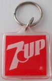 VINTAGE KEYCHAINS 7-UP RED SQUARE PLASTIC PAIR (2)