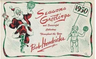BOB HENDRICKS 1950 SEASONS GREETINGS ADVERTISING POSTCARD