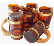 VINTAGE SIESTA WARE AMBER BEER STEIN MUG SET OF SIX (6) GLASSES WOODEN HANDLE