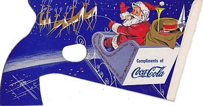 Coca-Cola Christmas Pop Gun 1950's Santa Dark Blue Advertising Ephemera
