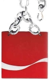 Vintage Belt 1970 COCA-COLA Red Plastic Square with Silver Tone Chain