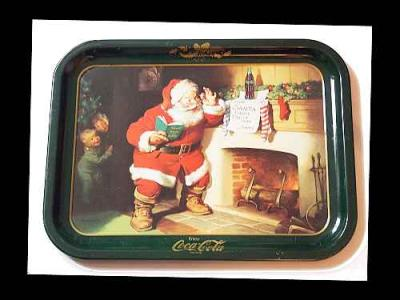 Coca Cola 1950's Tray of Santa with Note from Jimmy Authentic Vintage