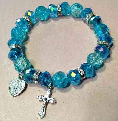BRACELET CRYSTAL BEADS STRETCH CRUCIFIX & MIRACULOUS MEDAL INSPIRATION OF FAITH