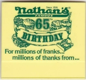 NATHAN'S Famous Restaurants 65th Birthday 1982 Employee Name Tag/Pin/Badge Yellow Plastic