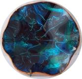 VINTAGE ASHTRAY Blue Ocean Shell Tone Round Wavy Rim with Orange Base