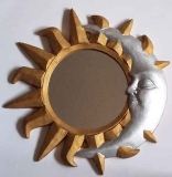 WALL MIRROR SUN MOON CARVED WOOD GOLD & SILVER Painted Vintage