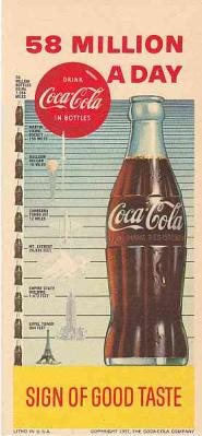 "Blotter COCA-COLA 1957 Advertising Over ""58 Million a Day"" ""Sign of Good Taste"" Ephemera"