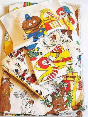 MCDONALD'S 1976 BEDROOM SET Five (5) Piece RONALD MCDONALD Pillowcase Bedspread Blanket Curtains MCDONALDLAND Characters Vintage