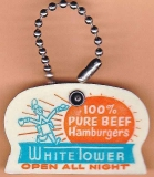 WHITE TOWER HAMBURGERS 1950's KEYCHAIN Coin Holder Ice Scraper Orange Turquoise Plastic