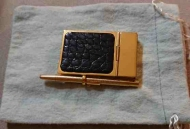 JUDITH LEIBER PAD w PEN IN BLACK LEATHER & GOLD METAL