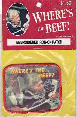 "Wendy's 1984 Patch ""Where's the Beef?"" Embroidered Iron-on Near Mint in Package"