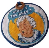 "WENDY'S HAMBURGER RESTAURANT 1984 ""WHERE'S THE BEEF"" OVEN MITT POTHOLDER VINTAGE"