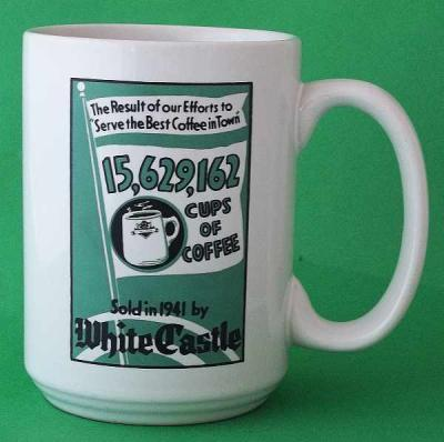 WHITE CASTLE Coffee Mug, 80th Anniversary, White Ceramic with Green