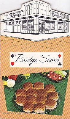 WHITE CASTLE BRIDGE SCORE PADS VINTAGE Mid-Century Mint