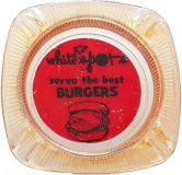 WHITE SPOTS SERVE THE BEST BURGERS Glass Vintage Ashtray