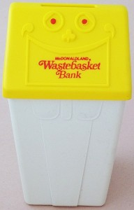 vintage McDonald's 1975 wastebasket coin bank giveaway