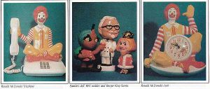 Collectibles from McDonalds, Sambos and Kentucky Fried Chicken